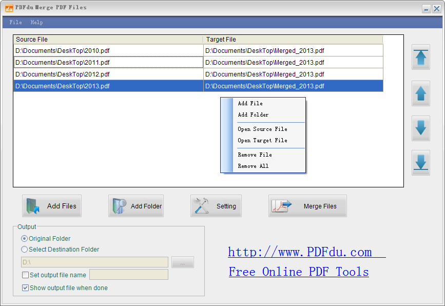 PDFdu Free Merge PDF Files Screen shot