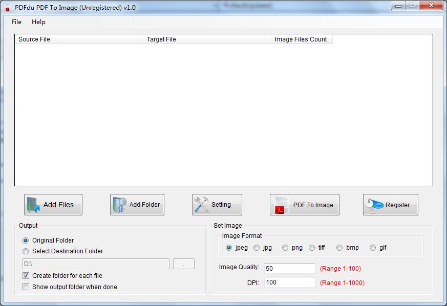 PDFdu PDF To Image full screenshot