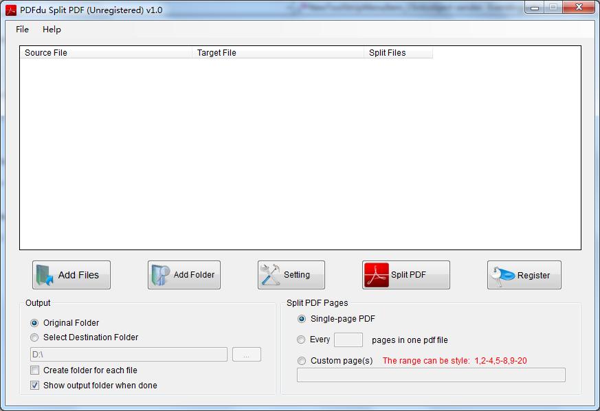 PDFdu Split PDF 1.0